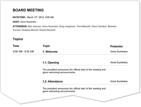 Meeting Agenda Sample – Samples of Agendas