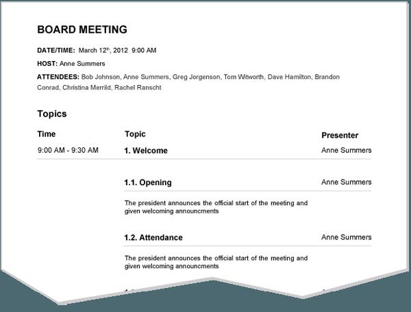 Meeting Agenda Sample